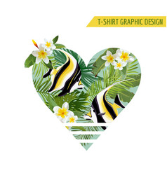 Tropical fish and flowers with leaves banner vector