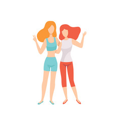 two happy women friends posing together female vector image