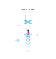 under control - modern isometric web banner vector image