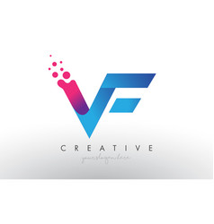 Vf letter design with creative dots bubble vector