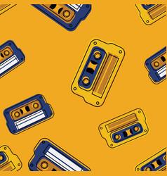 vintage music cassette seamless pattern vector image