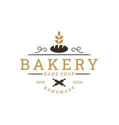 Vintage retro bakery bake shop sticker label logo vector