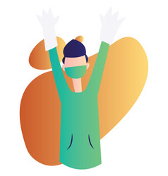ward boy holding hands up high on a white vector image