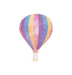 Watercolor hot air balloon on white vector