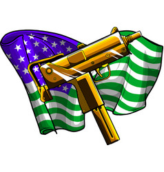 weapont uzi with american flag vector image
