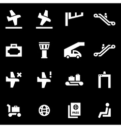 white airport icon set vector image