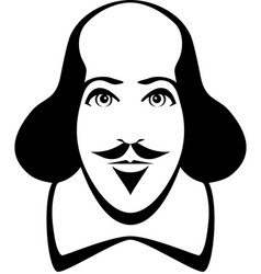 william shakespeare cartoon portrait in line art vector image