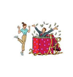Woman happy surprise man with money gift isolate vector