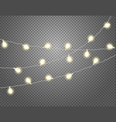 Yellow light garlands isolated on transparent vector