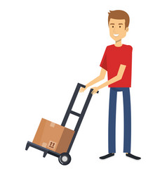 Young man with box character vector