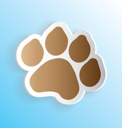 Dog paw print sticker peeling vector