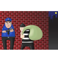 robbers and police confrontation vector image vector image