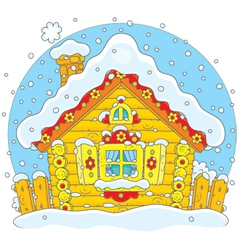 Small log hut in snow vector image vector image
