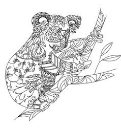 Zentangle patterned koala bear sitting on vector image vector image