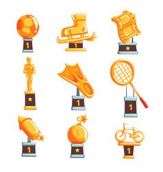 Cartoon golden trophy cups awards and vector