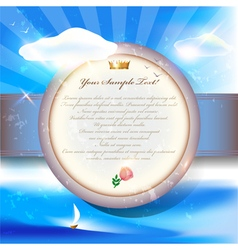 Old invitation card with round label on grunge vector