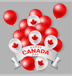 Red and white party balloons for national day of vector