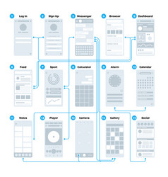 ux ui application interface flowchart mobile vector image