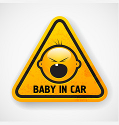 Baby in car sign vector image