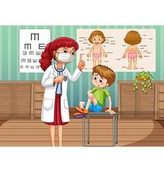 Doctor healing boy in clinic vector image vector image