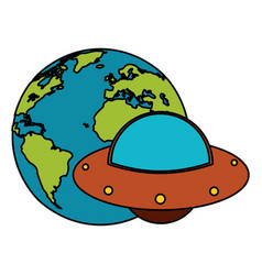 earth world ufo image vector image