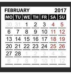 Calendar sheet february 2017 vector