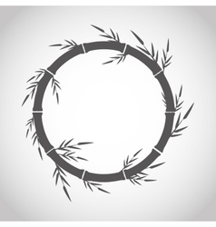 Circle of bamboo trunk with leaves design vector