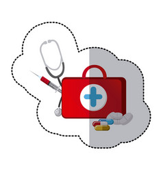 color suitcase health with stethoscope syringe vector image vector image