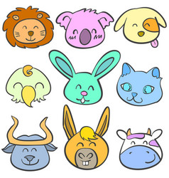 doodle of animal head colorful collection vector image vector image
