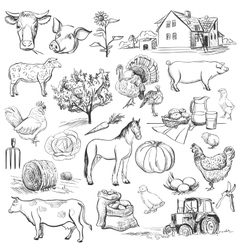 Farm collection - hand drawn set vector image vector image