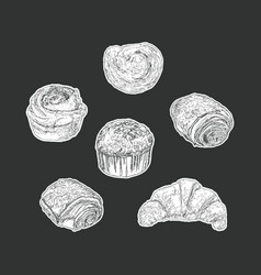 set of bakery isolated sticker hand draw vector image vector image