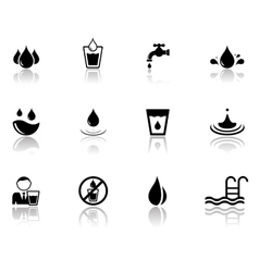 set of water icons with reflection silhouette vector image vector image