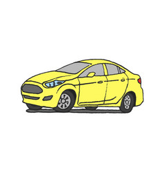 yellow car doodle vector image