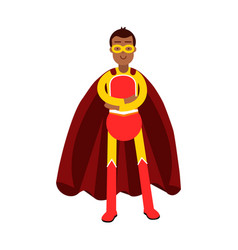 young smiling masked man in a red superhero vector image vector image
