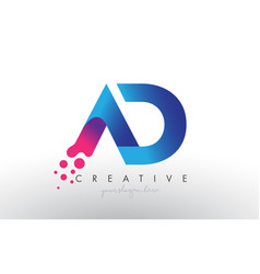Ad letter design with creative dots bubble vector