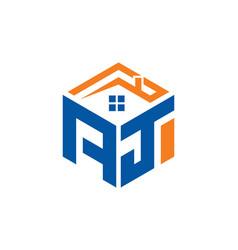 Aj home abstract polygonal letter logo vector
