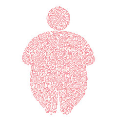 Alcohol and obesity human silhouette vector