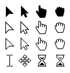arrow web cursors digital hand pointers vector image