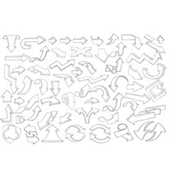 arrows large collection of outline icons vector image