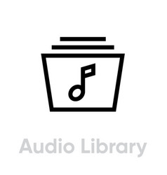 audio library music player icon editable line vector image