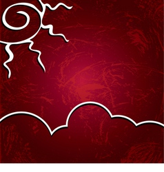 background Sun on a shabby burgundy background vector image