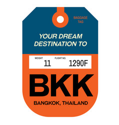 Bangkok airport luggage tag vector