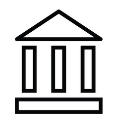 bank building icon with outline style vector image