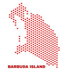 barbuda island map - mosaic of lovely hearts vector image