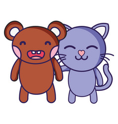 bear and cat cute animals friends vector image
