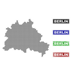 Berlin map in dot style with grunge caption stamps vector