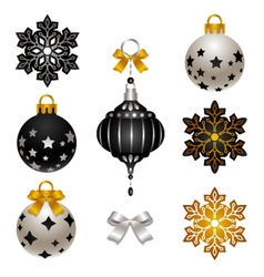black and white Christmas baubles and snowflakes vector image