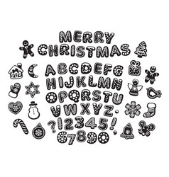 Black and white gingerbread alphabet letters vector