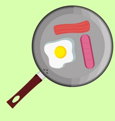 Breackfast with eggs and sousage vector