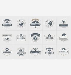 camping logos and badges templates design vector image